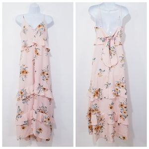 Lush Blush Floral Tiered Ruffle Tie Back Maxi Dres